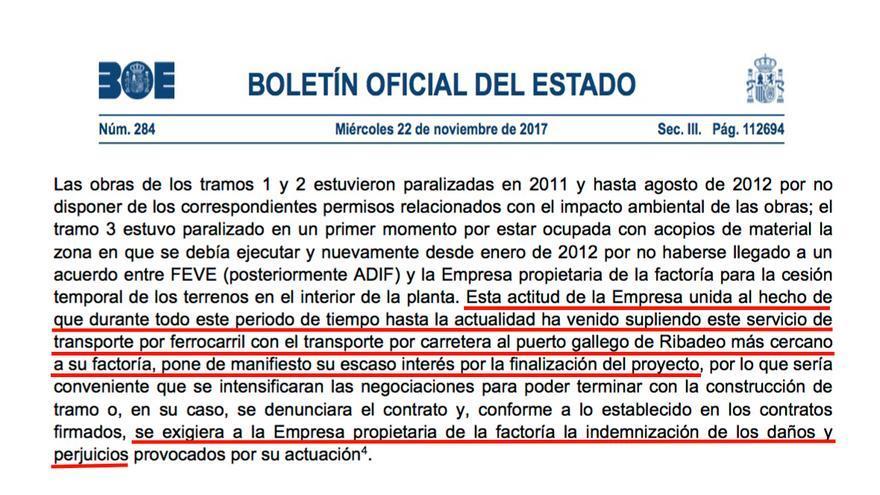 """BOE en el que el Tribunal de Cuentas pide que se denuncie a Ence por """"daños y perjuicios"""""""