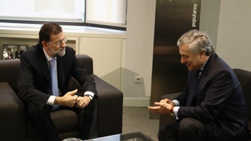 Reunión De Rajoy Y Antonio Tajani En Génova