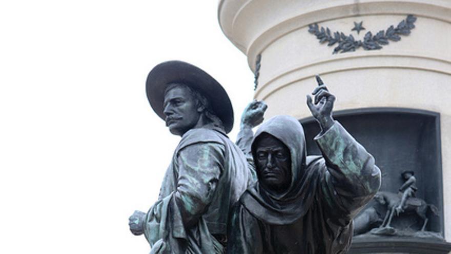 Imagen de la estatua Primeros Días, parte del complejo Monumento a los Pioneros, situado en San Francisco.