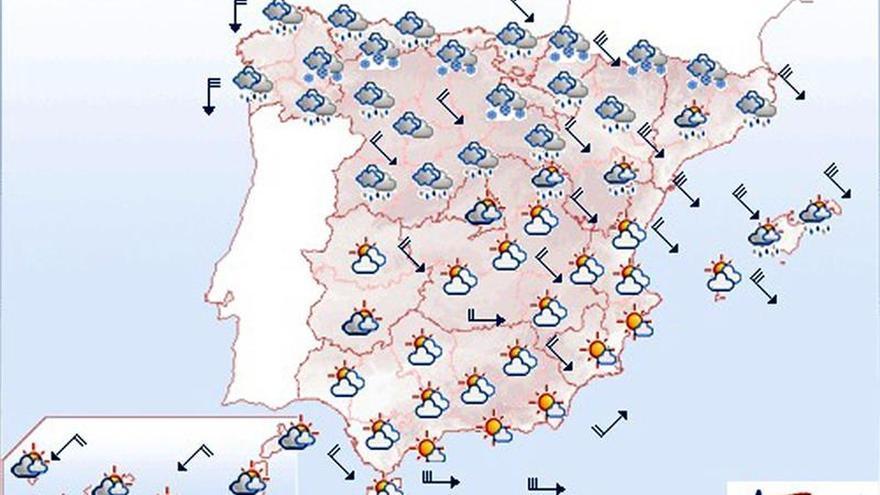 Hoy, lluvia, descenso de las temperaturas y viento fuerte