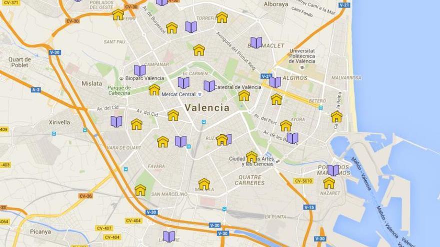 Mapa tras la reestructuración de la red de bibliotecas. En amarillo, las principales; en morado las agencias culturales