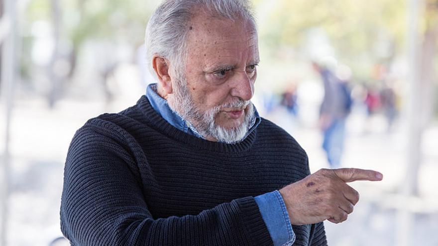 El ex coordinador de IU Julio Anguita, en la escuela de verano de IU en Fuentidueña del Tajo, septiembre de 2017.