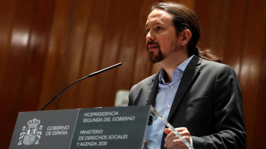 El vicepresidente segundo y ministro de Derechos Sociales y Agenda 2030, Pablo Iglesias, durante su intervención en la toma de posesión de altos cargos del departamento que preside este miércoles en Madrid.