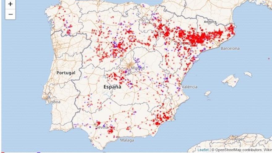 Explotaciones ganaderas obligadas a declarar amoníaco por superar límite de emisiones y/o animales, según el registro del Ministerio de Transición Ecológica.