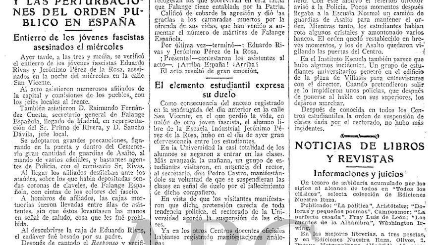 Hemeroteca: captura de pantalla de la crónica del diario ABC del 9 de noviembre de 1935.