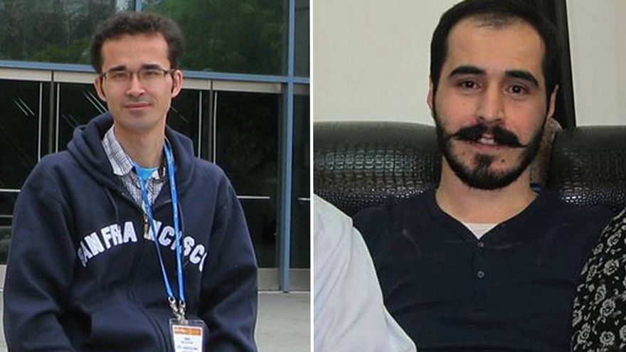 Amid Kokanee (izquierda) es un físico premiado internacionalmente, y Hossein Ronaghi (derecha) un blogger que lleva casi un mes en huelga de hambre.