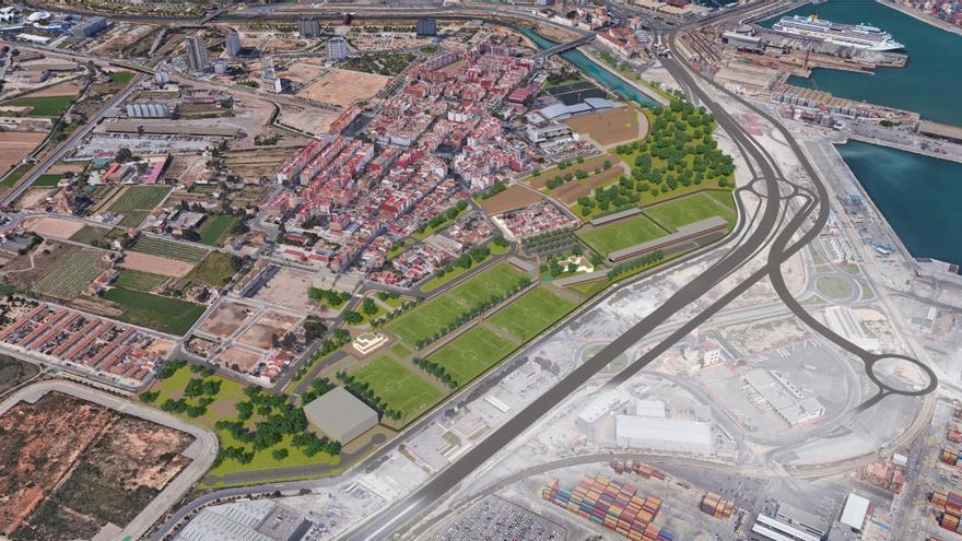 Imagen virtual de la ciudad deportiva del Levante U.D.