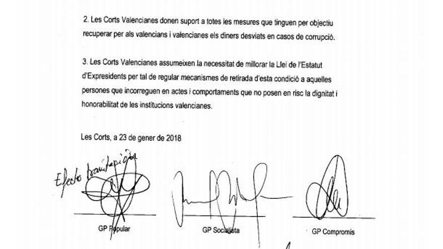 PNL de Compromís para pedir la dimisión de Francisco Camps del Consell Jurídic Consultiu