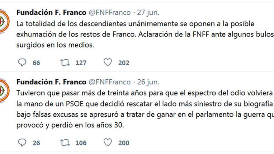 Mensaje en la red social Twitter de la Fundación Franco.