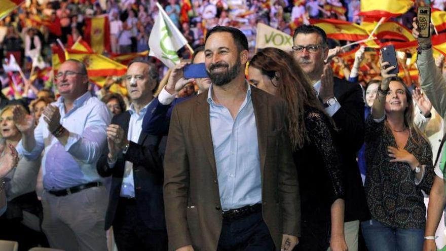 Santiago Abascal, durante el acto de Vox.