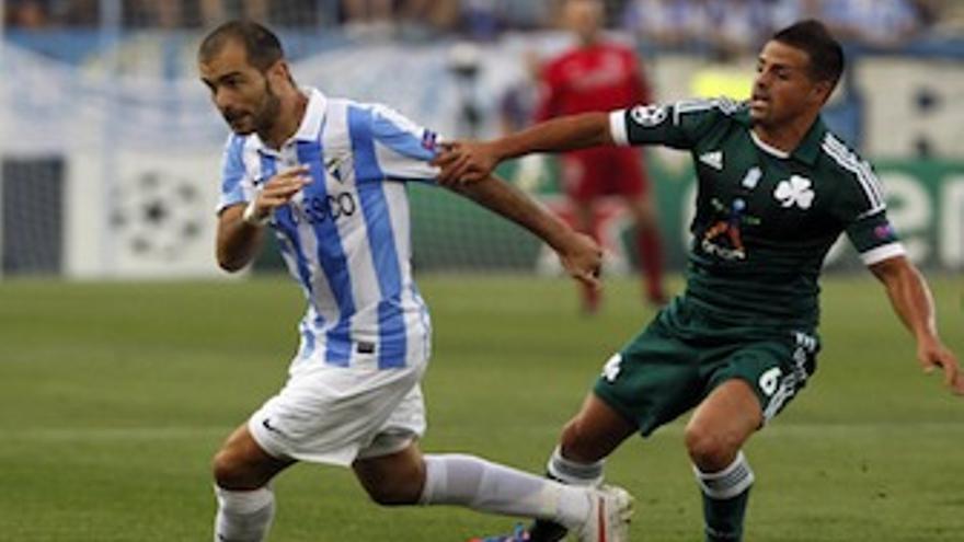 Vitolo, durante el partido ante el Málaga de la previa de la Liga de Campeones. (malagacf.com)