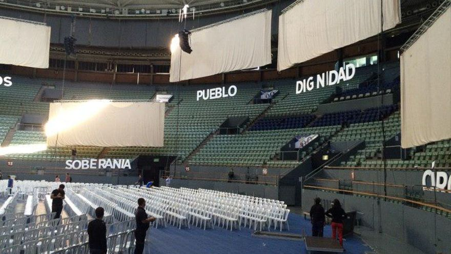 Aspecto del Palacio de Vistalegre un día antes de la Asamblea de Podemos / @ahorapodemos