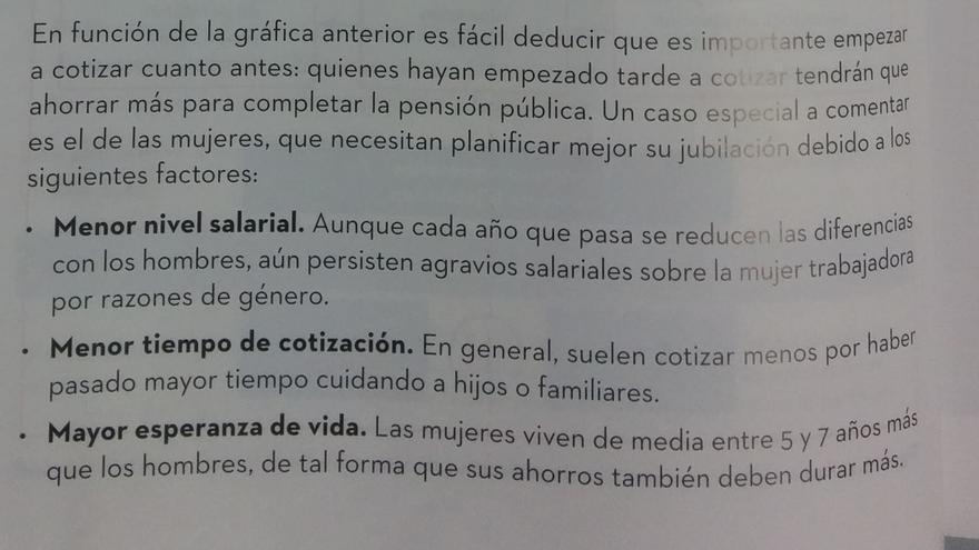 Párrafo sobre la cotización femenina recogida en el libro de Economía de 4º de la ESO de la editorial McGrawHill