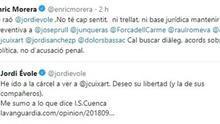 PP y Ciudadanos exigen a Morera que rectifique las declaraciones en las que aboga por el diálogo en Cataluña