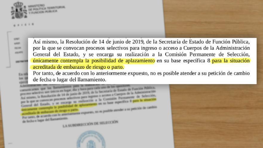 Resolución de la Secretaría de Estado de Función Pública a la solicitud de aplazamiento de examen de una mujer ingresada en Tenerife.