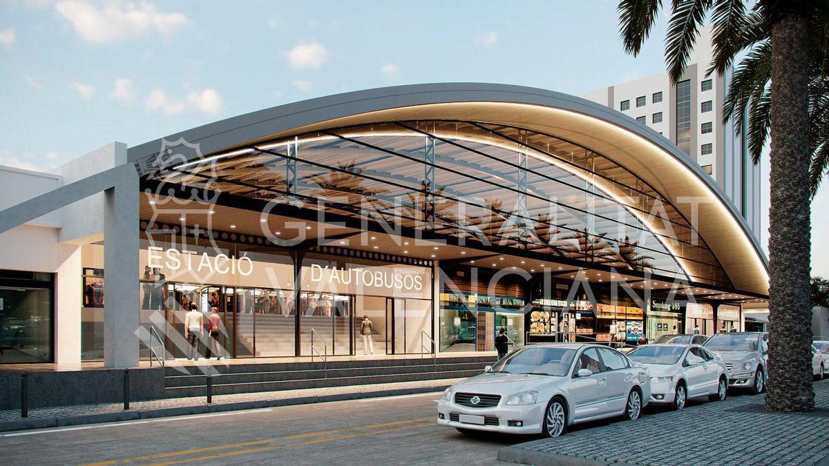 Así quedará la Estación de Autobuses de València tras la intervención.