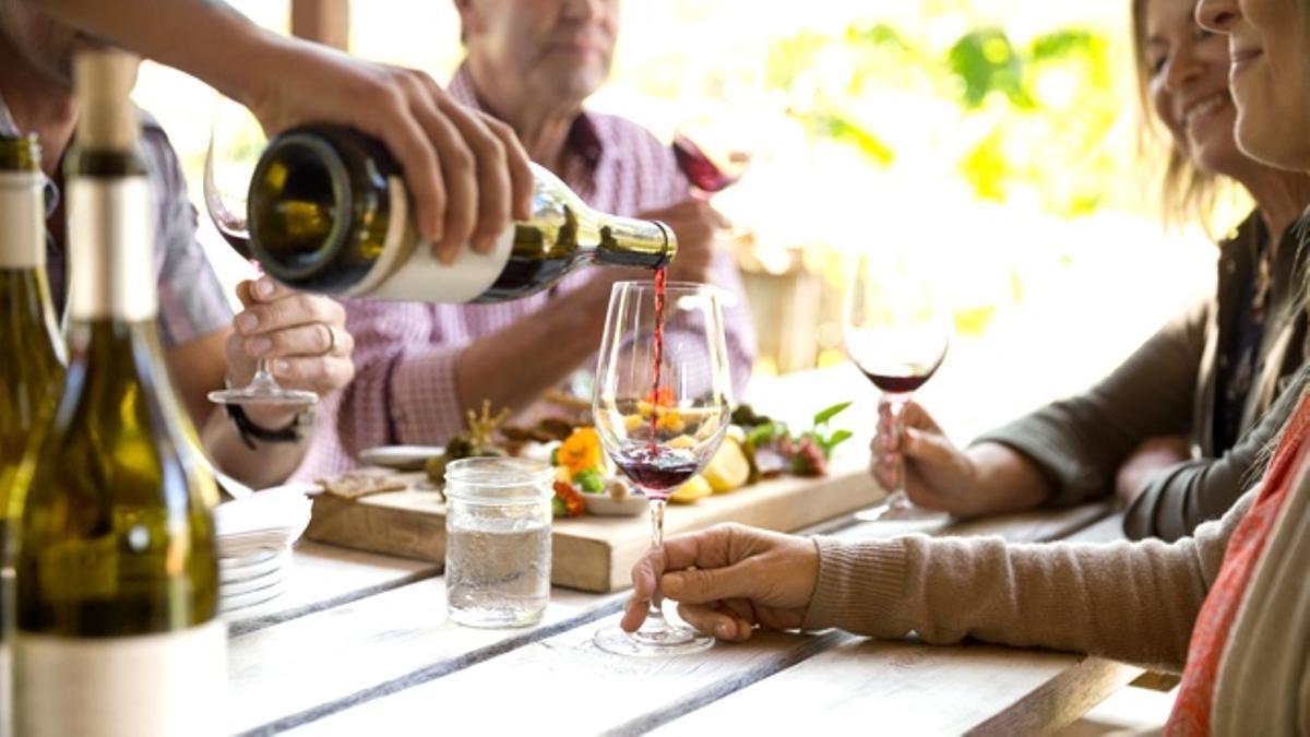 Un grupo de amigos tomando vino