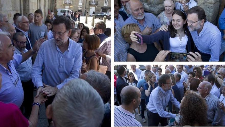 Rajoy se hace 'selfies' con ciudadanos en su visita a Celanova. / Twitter de @marianorajoy