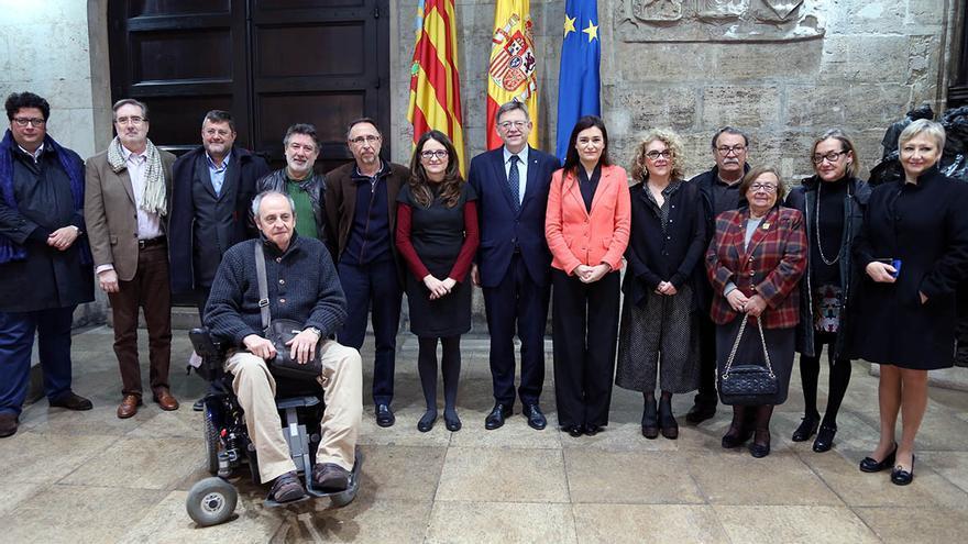 El president Ximo Puig, la vicepresidenta Mónica Oltra y la consellera Carmen Montón en la presentación del Plan de Salud Mental
