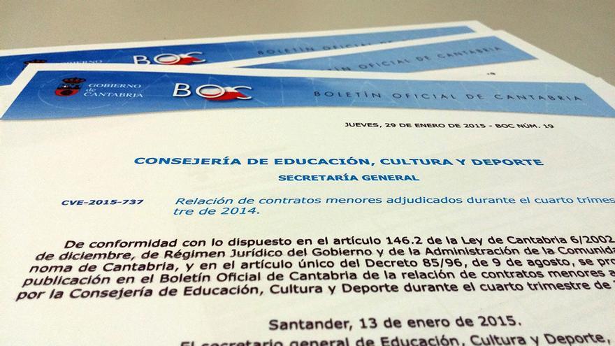 Contratos menores. Gobierno de Cantabria 2014