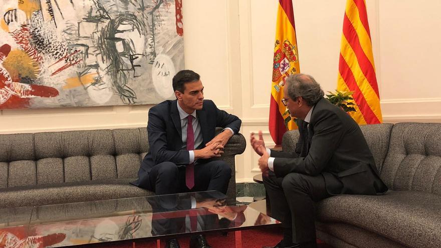 Pedro Sánchez y Quim Torra en su encuentro en Pedralbes