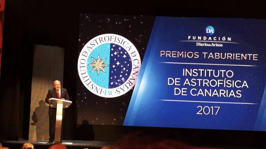 Rafael Rebolo, director del IAC, durante la recogida del Premio Taburiente 2017. Foto: IAC.
