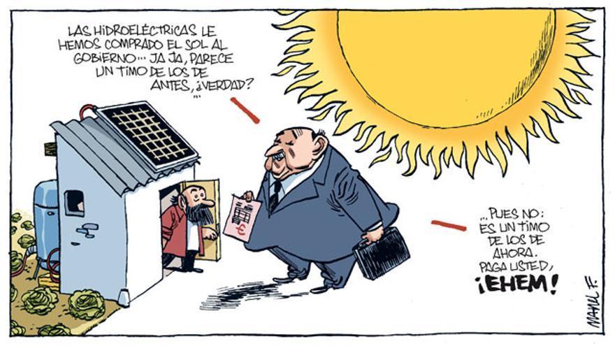 Viñeta cómica sobre las hidroeléctricas.