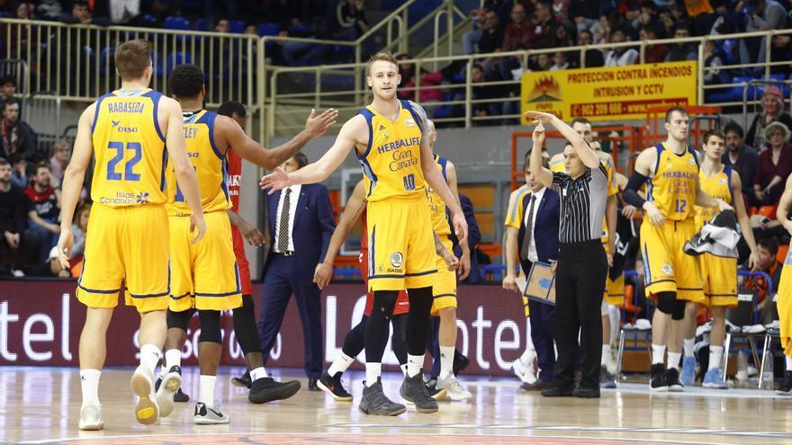 Los jugadores del Gran Canaria en el encuentro de liga jugado en Fuenlabrada