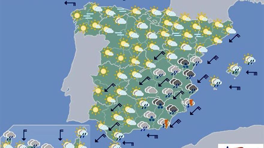 Hoy, precipitaciones fuertes en la Comunidad Valenciana y Murcia