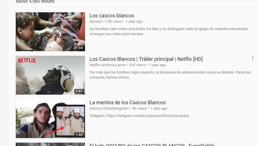 La primera página de resultados sobre Cascos Blancos en YouTube demuestra como las teorías de la conspiración dominan los motores de búsqueda
