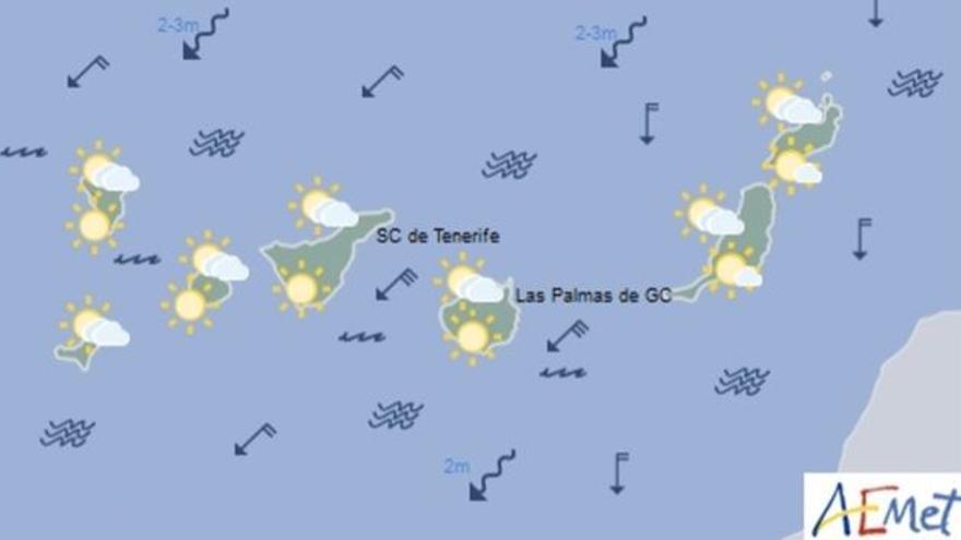 Mapa con la previsión meteorológica para este domingo, 2 de julio de 2017