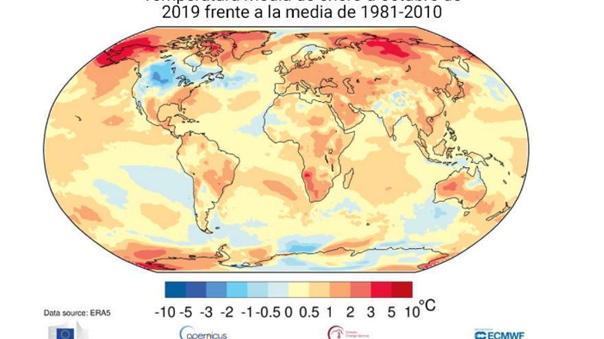 El mapa con las diferencias de temperatura muestra claramente el calentamiento de la Tierra.