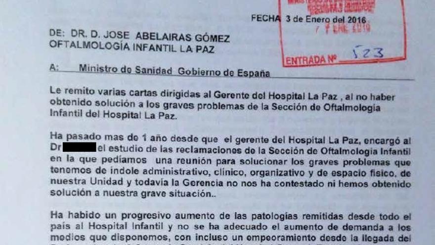 Queja emitida por José Abelairas al Ministerio de Sanidad