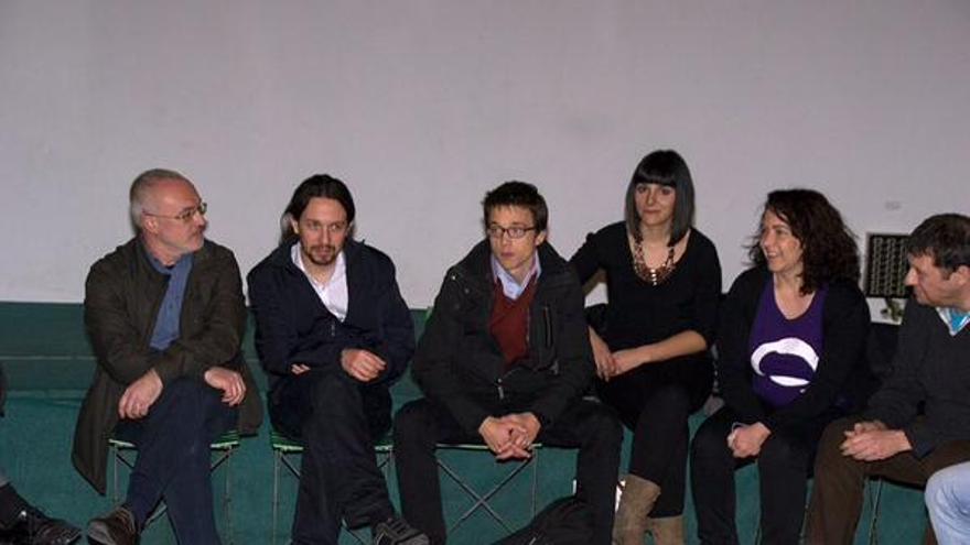 Antonio Montiel, Pablo Iglesias, Iñigo Errejón y Sandra Mínguez, en Valencia.