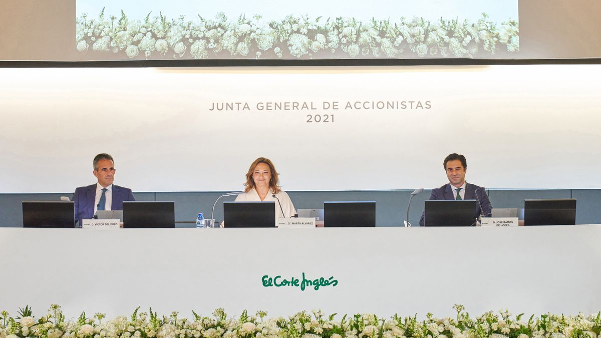 Víctor del Pozo, consejero delegado de El Corte Inglés; Marta Álvarez, presidenta; y José Ramón de Hoces, consejero secretario, durante la Junta General de Accionistas de 2021.