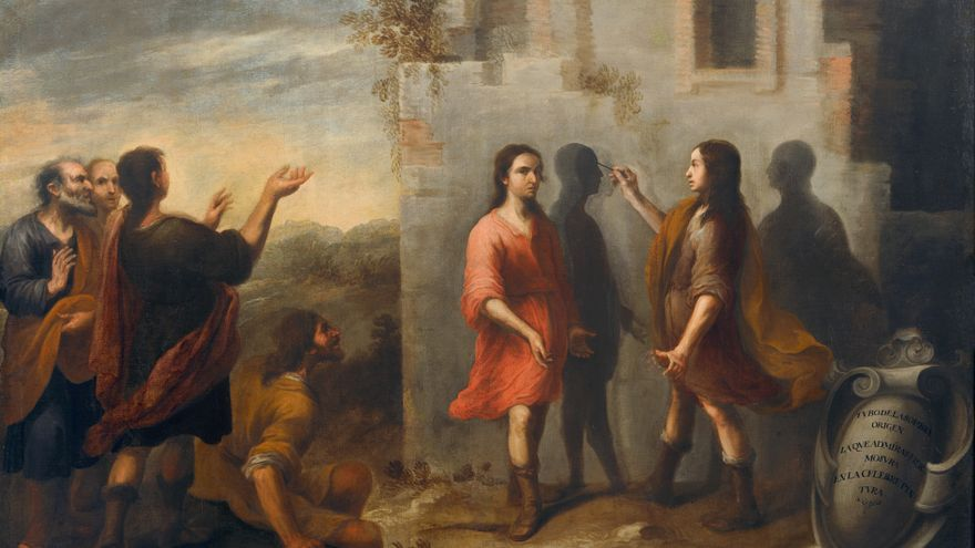 C:\fakepath\3.. El origen de la pintura - La invención de la pintura. Matías de Arteaga. Óleo sobre lienzo, 116 x 171 cm. 1665.jpg