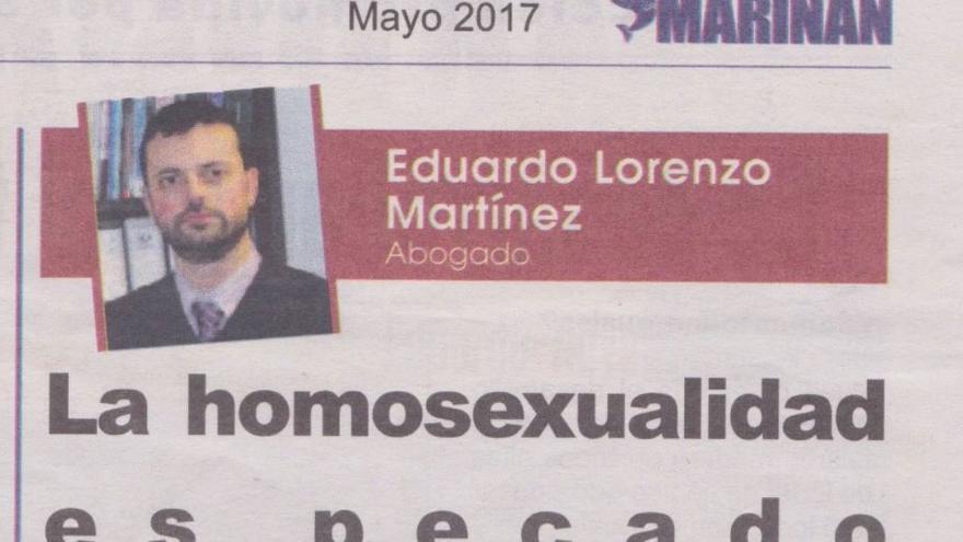 El artículo titulado 'La homosexualidad es pecado' fue publicado en el número de mayo