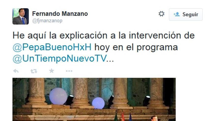 Twitter de Fernando Manzano, presidente de la Asamblea de Extremadura, en alusión a la periodista Pepa Bueno
