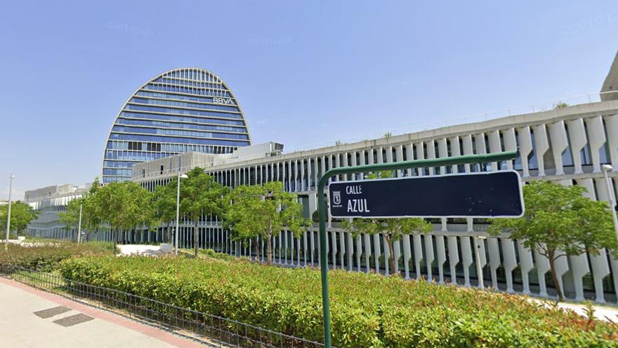 La calle Azul, antigua calle Fresneda, donde se encuentra la sede de BBVA en Madrid