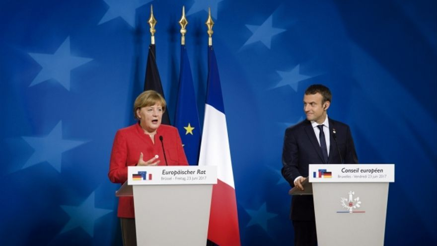 Angela Merkel y Emmanuel Macron, en el Consejo Europeo de junio pasado