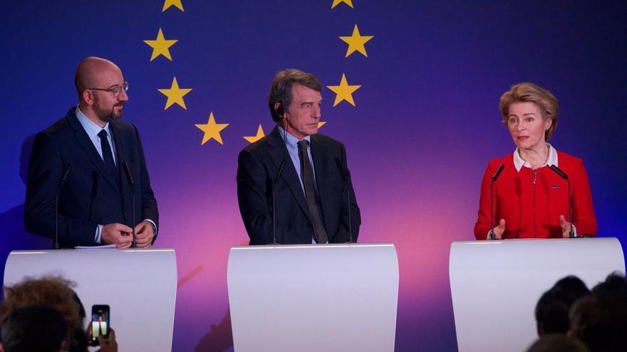 Los presidentes del Consejo Europeo, el Parlamento Europeo y la Comisión Europea, Charles Michel, David Sassoli y Ursula von der Leyen.