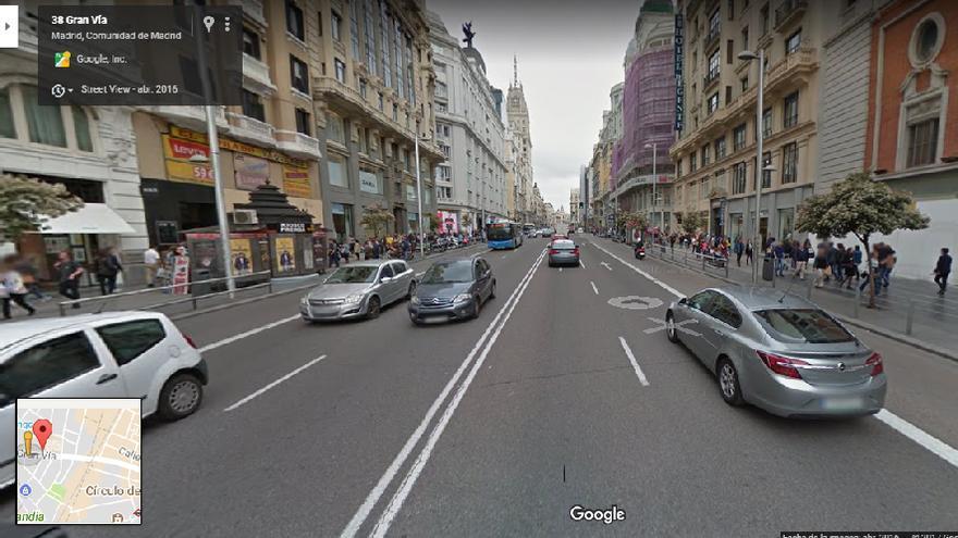 Una imagen de Street View de la Gran Vía madrileña