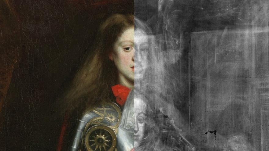 La obra 'Carlos II con armadura', de Carreño de Miranda con y sin rayos X