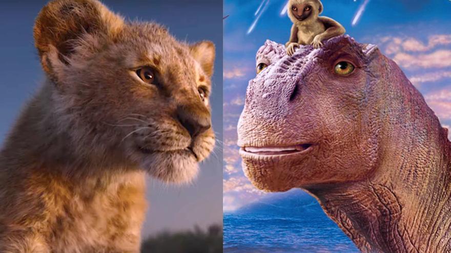 A la izquierda: 'El rey león' (2019). A la derecha: 'Dinosaurio' (2000)