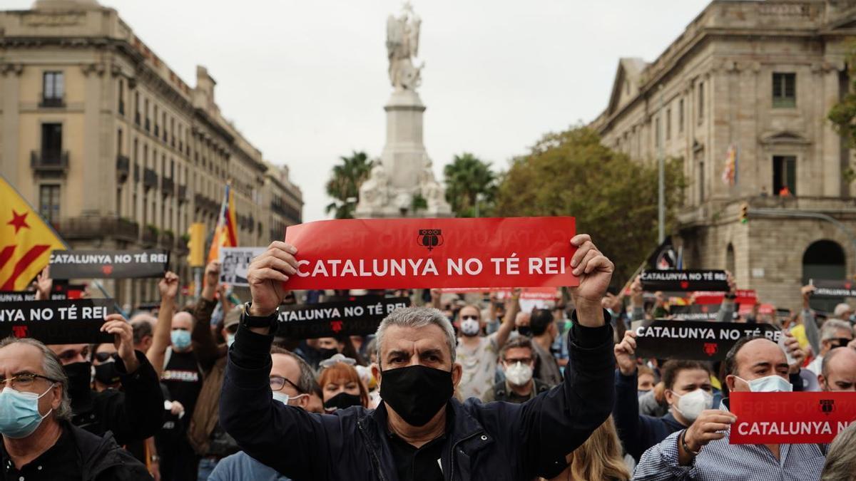 Protestas contra la presencia del rey en Barcelona