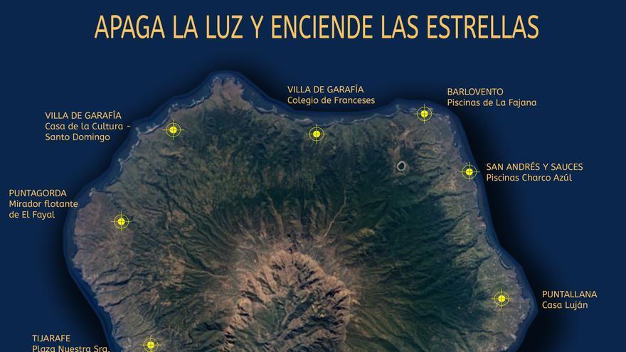 Mapa del 'apagón' para ver la estrellas.