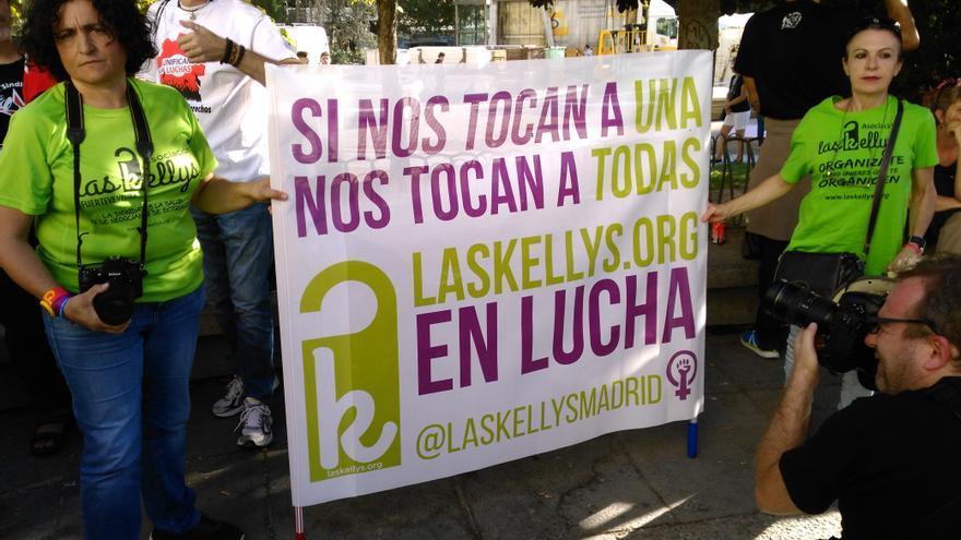 Concentración de la Asociación de kellys en Plaza España. FOTO: Gloria de las Heras
