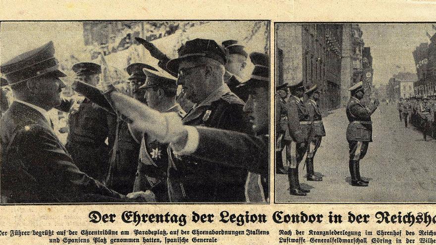 Hitler saluda al General Yagüe en Berlín