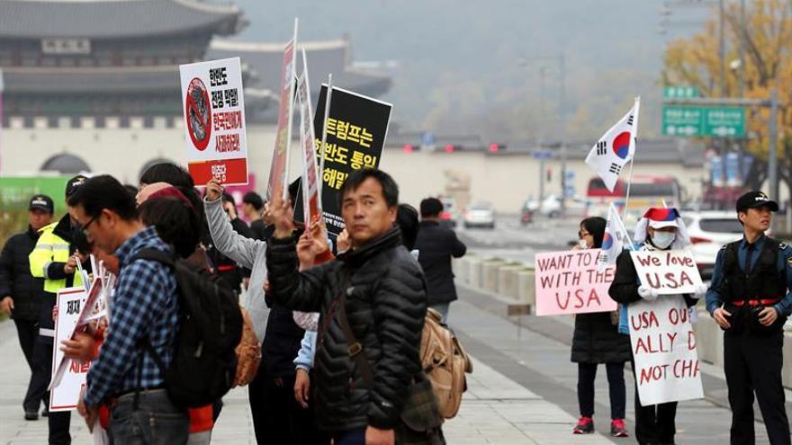 Convocan protestas en Corea del Sur en contra de la visita de Donald Trump