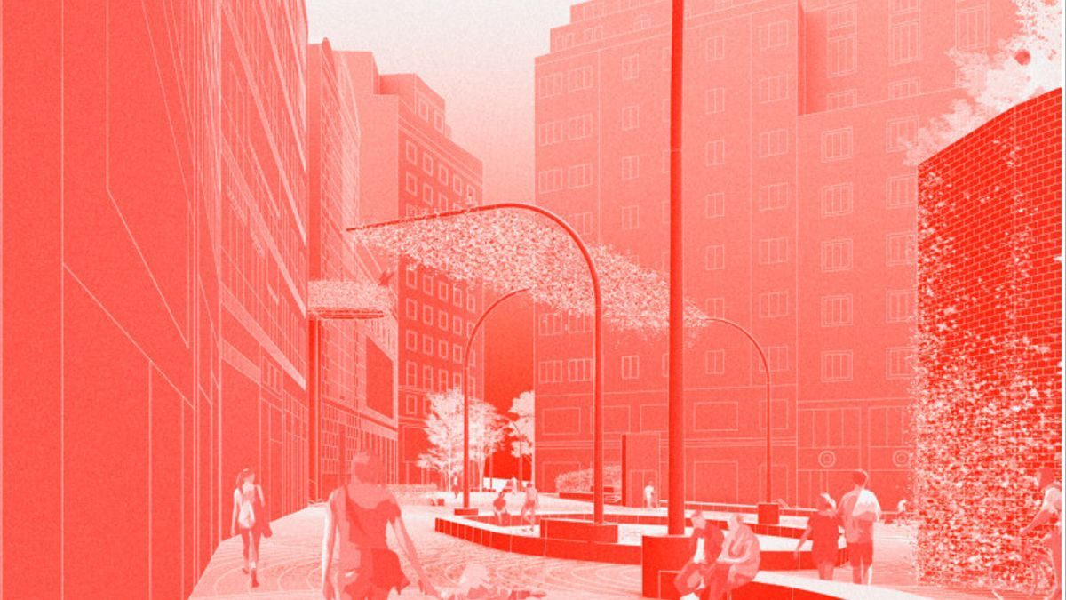 Recreación del proyecto de Furii Studio de la calle García Molinas, con el Mercado de Mostenses a la derecha y al fondo, la confluencia con Gran Vía
